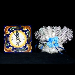 Orologio 10x10 decoro Ornato blu.