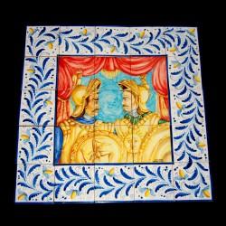 Pannello in ceramica di Caltagirone raffigurante i paladini.