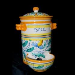 Barattolo o saliera antica in ceramica.
