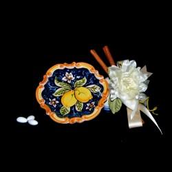 Bomboniera in ceramica di Caltagirone, ciotola barocca.