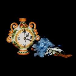 Bomboniera fiasco orologio in Ceramica di Caltagirone.
