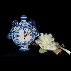 Bomboniera orologio fiasco in ceramica di Caltagirone.