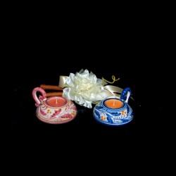 Bomboniera porta tealight in ceramica di Caltagirone decoro 600.