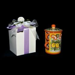 Bomboniera servizio a due tazzine in ceramica di Caltagirone.