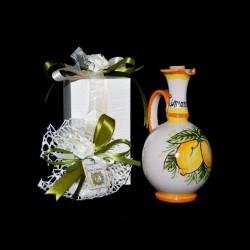 Bomboniera Bottiglia limoncello in ceramica di Caltagirone.