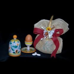 bomboniera porta uovo con campana in ceramica di Caltagirone.