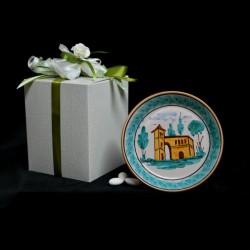 Bomboniera piatto fangotto in ceramica di Caltagirone.