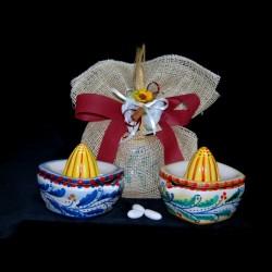 Bomboniera spremi agrumi in ceramica di Caltagirone.