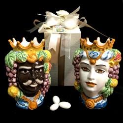 Bomboniera antichizzata testa di moro in ceramica di Caltagirone.