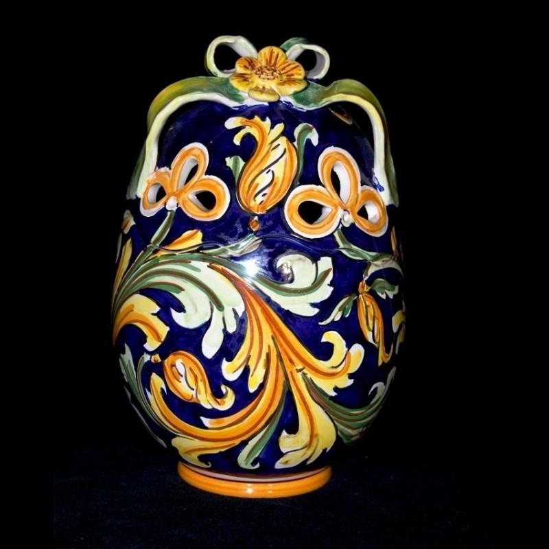 Uova Di Pasqua Ceramica.Uovo Di Pasqua In Ceramica Decoro Ornato Blu Uovo In Ceramica Maio