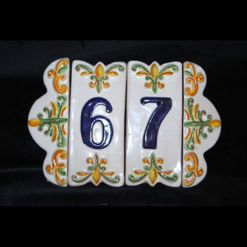 Numeri Civici In Ceramica.Numero Civico E Cornice Numero Civico In Ceramica Decorato A Mano