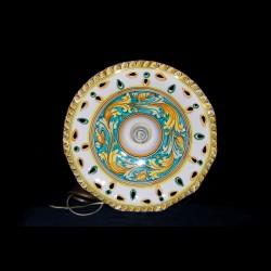 Lampadari In Ceramica Di Caltagirone.Lampadario Traforato Decoro Ornato Verde