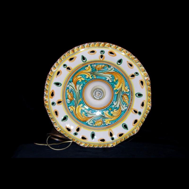 Lampadari In Ceramica Di Caltagirone.Lampadario In Ceramica Di Caltagirone Decoro Ornato In Verde
