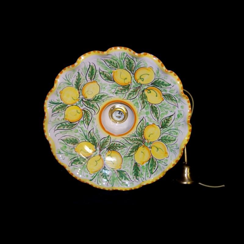 Lampadari In Ceramica Di Caltagirone.Lampadario Decoro Limoni In Ceramica Di Caltagirone