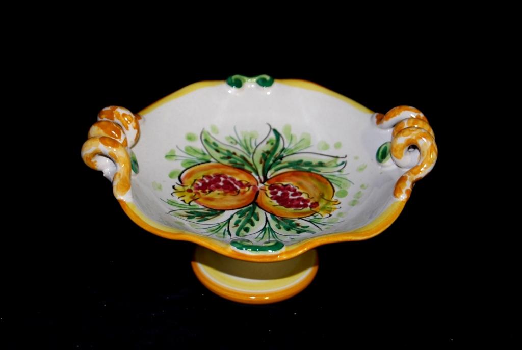 Alzatina reale decoro Melograni in Ceramica di Caltagirone.