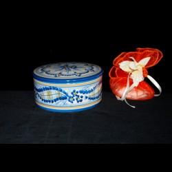 Scatola porta gioie o caramelle decoro nastrino blu