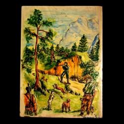 Pannello raffigurante scena di caccia