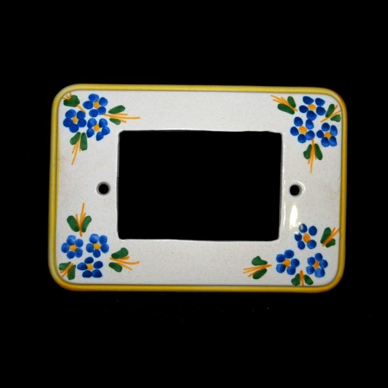 Placca per la luce decoro floreale in azzurro